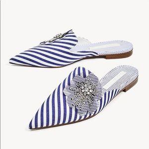 Zara preppy stripes bejeweled pointy toe mules 8.5